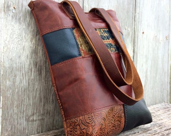 Leather Patchwork Carpetbag Tote in Distressed Chestnut and Black by Stacy Leigh