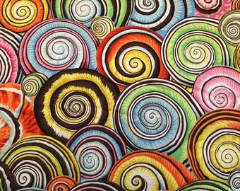 2 yards Spiral Shells in multi colors