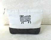 Sheep Zip Pouch No. 2, Hand Printed Fabric and Felted Wool Clutch