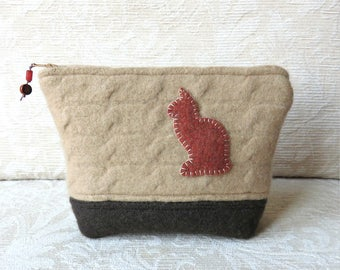 Ginger Cat Zippered Pouch, Upcycled Felted Wool Sweater Clutch
