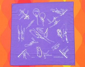 90s vintage bandana scarf KNOTS camping purple nature facts bandanna handkerchief 1991