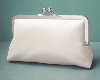 Ivory cream clutch purse, silk bag with chain handle, wedding bridal clutch, bridesmaid gift