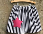 Girls Stripe Skirt with Star - Perfect for Princess, Pirate, Halloween Costumes - Baby, Toddler, Child, Bid Kid - You Choose Star Color