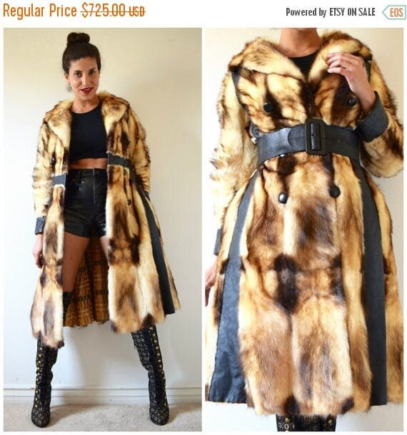 SUMMER SALE / 20% off Vintage 60s 70s Mink and Black Leather Paneled Princess Coat (size xs, small)