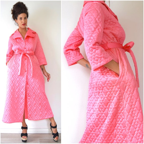 SUMMER SALE/ 30% off Vintage 60s 70s Barbie Pink Quilted House Robe (size small, medium)