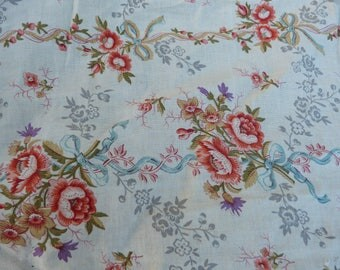 "Vintage Antique French Victorian 1890s faded colors printed floral cotton fabric 40.9 "" x 19.7 """