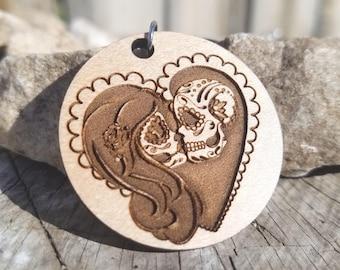 Sugar Skull couple in love pendant Necklace