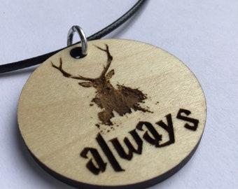 Wizard Always Stag Patronus wood pendant necklace