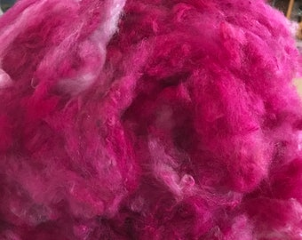 Hand Dyed Mulberry Silk Clouds ~ Bright Magenta