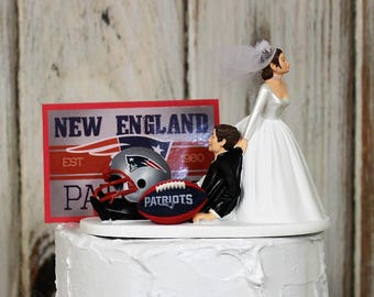 New England Patriots Wedding Cake Topper-Football Cake Topper-Patriots Fans, Bride and Groom, Funny, Bride Draggin Groom, Groom's Cake
