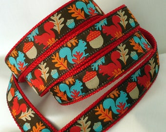 Fall Dog Collar and Leash - 1 Inch Wide - Leash and Collar Set - Collar and Leash Set - Dog Leash and Collar - Squirrels - READY TO SHIP