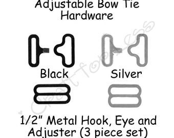 "25 Sets Small Bow Tie Hardware Fastener Clips - 1/2"" Rounded Edge Slide Adjuster*, Hook and Eye - Black or Silver Metal - SEE COUPON"