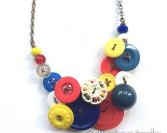 Circus Vintage Buttons Statement Necklace