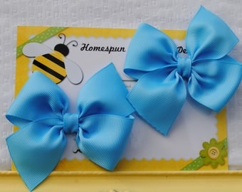 Blue Bows for Pigtails - Cinderella Blue Bow Clips - Pretty Blue Hairbows - Set of Classic Piggy Tail Bows - 3 Inch Bows for Girls Piggies