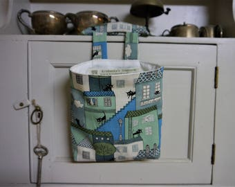 Thread Catcher -  Craft Caddy-  Co Co Cand Black Cats - Blues and Greens   -  Handmade