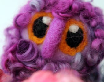 Owl Baby Purple Needle Felted Limited edition Owl Baby in Hand Dyed Teeswater Locks