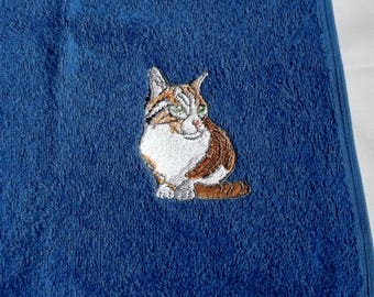 Cat Face Cloth, Embroidered Towel, Cat Gift