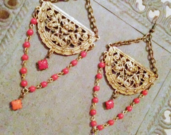 Bohemian Earrings  Flamenco Earrings Belly Dance Vintage Red Coral Orange Beads Jewelry Antique Gold By Red Gypsy Jewelry  LIMITED ADDITION