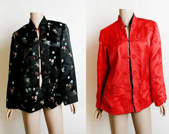 Vintage Reversible Chinese Jacket - Asian Red & Black Embroidered Cheongsam Floral Satin Brocade Jacket Blazer Coat - Small Medium