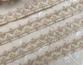 "Vintage French Passementerie Trim, Ribbon Lattice Work Haberdashery Yardage, Blush Trim, Flesh Braid Trim, Gimp,  7/8"" wide"