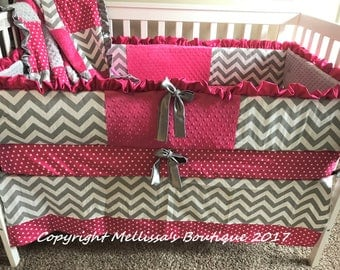 Custom Hot Pink Grey And White Chevron Ruffled Crib Bedding Complete 4-Piece Set CUSTOMIZE YOURS