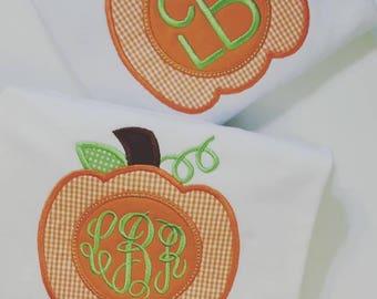 Monogrammed pumpkin tee shirt
