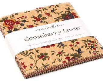 "Gooseberry Lane Moda Charm Pack 42 - 5"" precut fabric quilt squares by Kansas Troubles Quilters"
