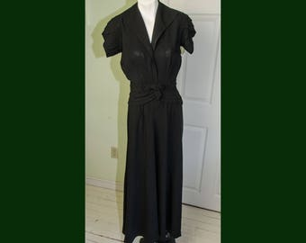 Vintage 1940's Black Crepe Dress by Chez Elise
