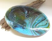 Oval glass dish teal green purple and gold pot melt