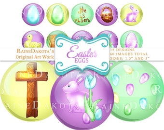Easter Digital Circle Images, Christian Bottlecap Images, 1.5 Round, Bottle Cap, Collage Sheet, 1.5 Inch Digital Images, 1 Inch Graphics