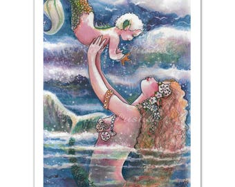 Mermaids, Mother and Child 9x12 Art print