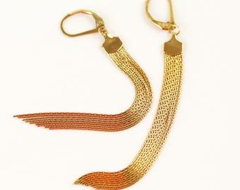 Gold Tassel Earrings - Long - Tassel Earrings - Gift for Women