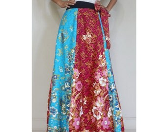 Handmade 8 Pieces floral Thai batik Sarong patchwork long comfortable  wear wrap skirt fit all size (BT 06)