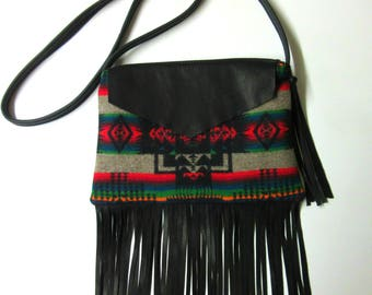 Fringed Cross Body Bag Purse Shoulder Black Deer Leather Native American Print Wool from Pendleton Oregon