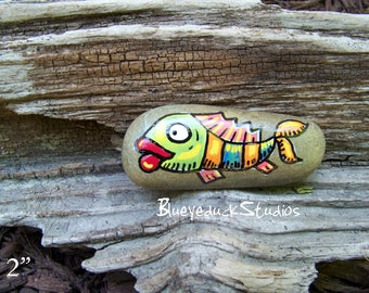 Fish Folk Art, Original hand painted Beach Rock, Lake Erie, handpainted, earth art, reclaimed, inked, stone, Pocket Smile, sea pebble