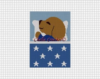 INSTANT DOWNLOAD Chella Crochet Baby Puppy Sleeping Blue w/ Stars Afghan Crochet Pattern Graph 100st  .pdf