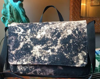 """Hand Treated Bleach Dyed 17"""" Black Canvas Messenger Bag, Black and White Canvas Courier Bag, Laptop Bag"""