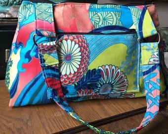 Asian Floral Bonsai Cotton Print Zippered Shoulder Bag, Handmade Handbag Purse, Baguette Bag