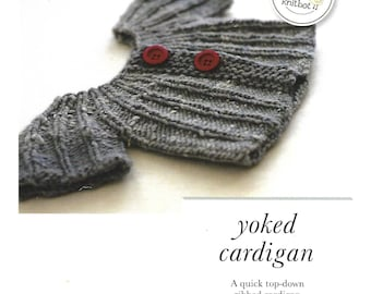 Knit Cardigan Sweater  | Hanna Fettig for Knitbot | Sizes from Infant to Adult | Instructional | Knitter | Knitting