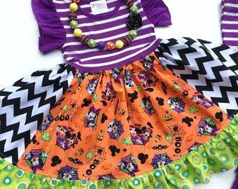 Halloween Disney dress Minnie Mickey mouse dress clothing Not So Scary Halloween party Momi boutique custom fall October pageant dress