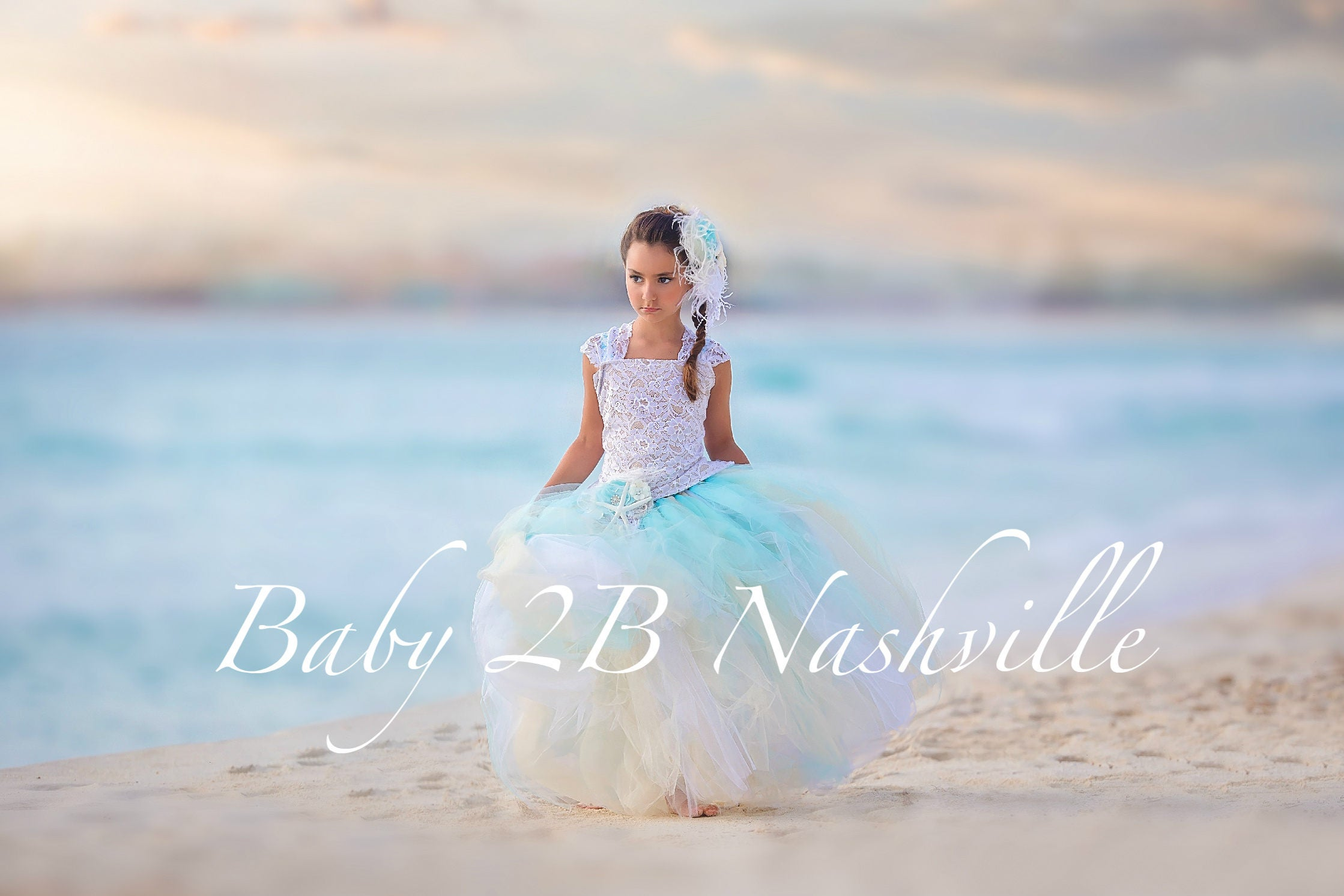Beach wedding dress flower girl dress tulle dress wedding for Flower girl dress for beach wedding