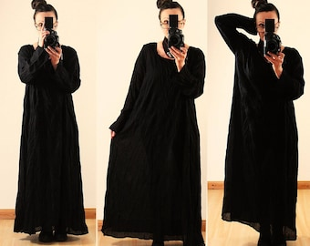 Womens Loose Fitting Linen Cotton Maxi Dress Long Sleeves Vintage Plus Size 1X 2X 14 16 18 20 Crinkle Lagenlook Black