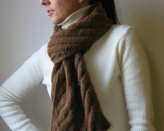 Natural Brown Llama Yarn Hand Knitted Scarf, Winter Wrap Shawl Woman Long Scarf, Neck Warmer Llama Unisex Scarf, Mens Scarves, Gifts For Him