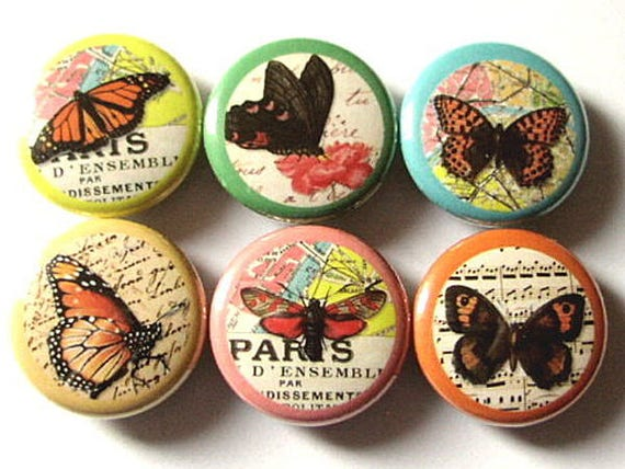 Butterflies and Maps fridge Magnets spring nature 1 inch insect magnet butterfly stocking stuffer party favors hostess gifts flair pins