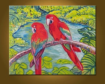 Jungle Talkin' -- 24 x 30 inch Original Oil Painting by Elizabeth Graf -- Art Painting, Art & Collectibles