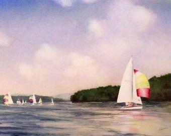 Original Watercolor Painting - 16x20 with Mat - Sailboats