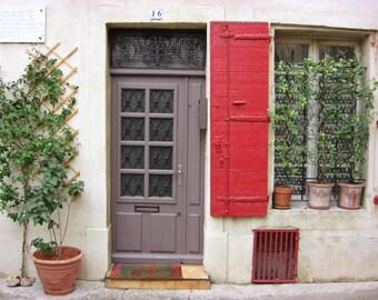 "Door photograph  purple mauve  house window red shutters France travel photography print ""Mauve Door"""