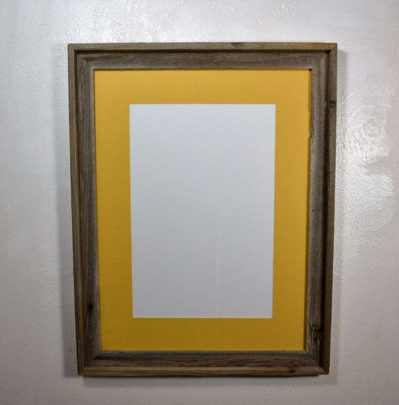 18x24 Eco Friendly Reclaimed Wood Frame With Yellow Mat