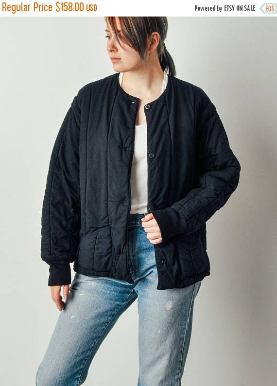 Sale Vintage Navy Quilted Bomber Coat