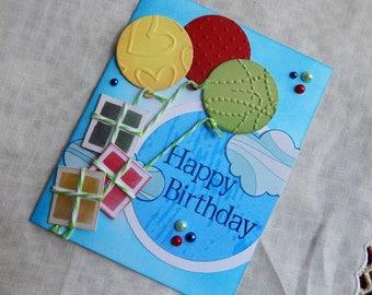 Handmade Birthday Card: balloons, gifts, blue, sky, greeting card, friend, family, complete card, handmade, balsampondsdesign